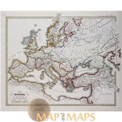 Antique map, Europe in the beginning of the VI century, by Karl Spruner 1846