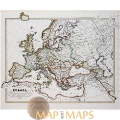 Antique historical map, Europe in the 17th century, by Karl Spruner 1846