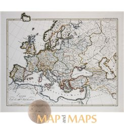 Antique map, Europe history in the XIV te century, by Karl Spruner 1846.