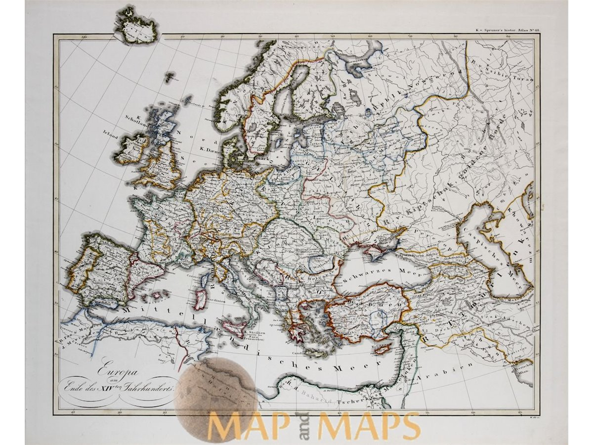 14th Century Map Of Europe.Europe In The 14th Century Atlas Map Karl Spruner 1846 Mapandmaps