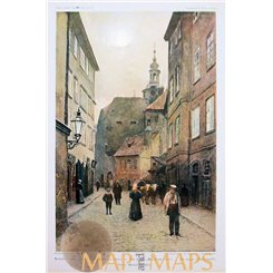 The Maiselova Ulice Street Vintage antique print Prague. 1902