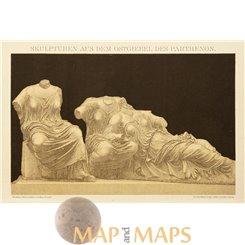 Parthenon Sculptures, Antique print by Brockhaus 1882