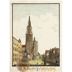 Antwerp Cathedral of Our Lady Belgium antique print 1860