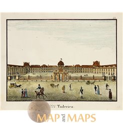 Tuileries Palace antique print Paris Carl Hellfahrt 1832