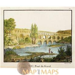 Pont du Gard aqueduct antique print France Carl Hellfahrt 1832