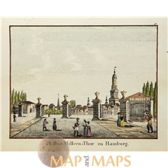 Hamburg Millern-Thor antique Biedermeier print colored c1840