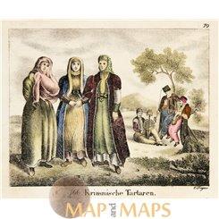 Crimean Tatars antique print Carl Hellfahrt 1832