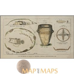 Ancient Cornwall, Sepulchral urn, antique print hand colored 1879.
