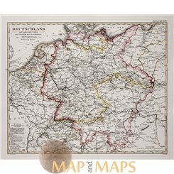 Germany antique map Deutschland Sydow's atlas/ Perthes 1849