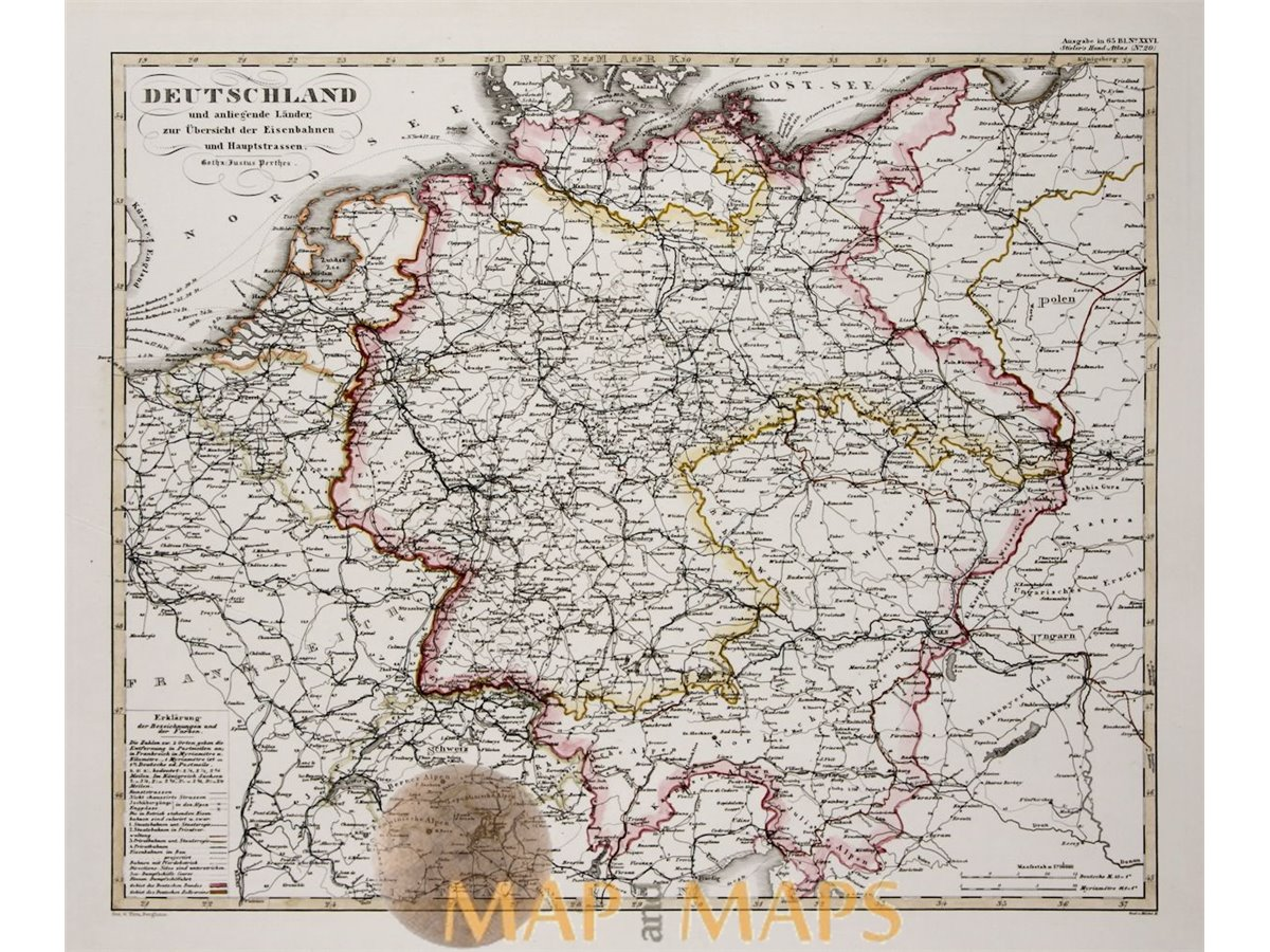 Map Of Old Germany.Germany And Surrounding Countries Old Map Justus Perthes Mapandmaps