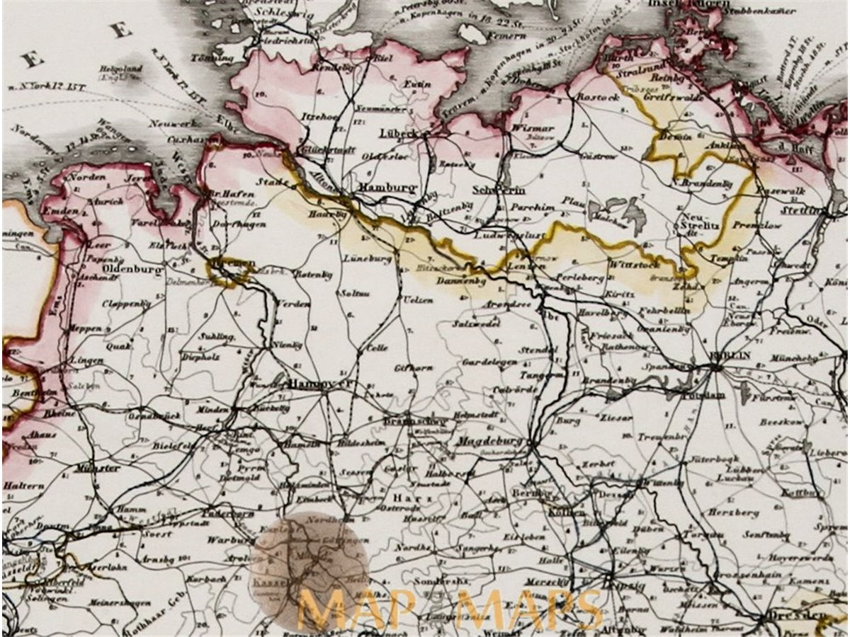 Map Of Germany And Surrounding Countries.Germany And Surrounding Countries Old Map Justus Perthes Mapandmaps