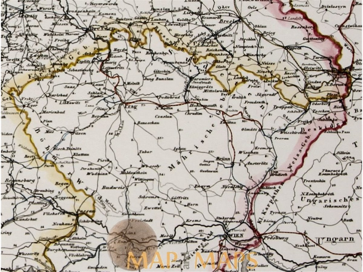 Map Of Deutschland Germany.Germany And Surrounding Countries Old Map Justus Perthes 1853