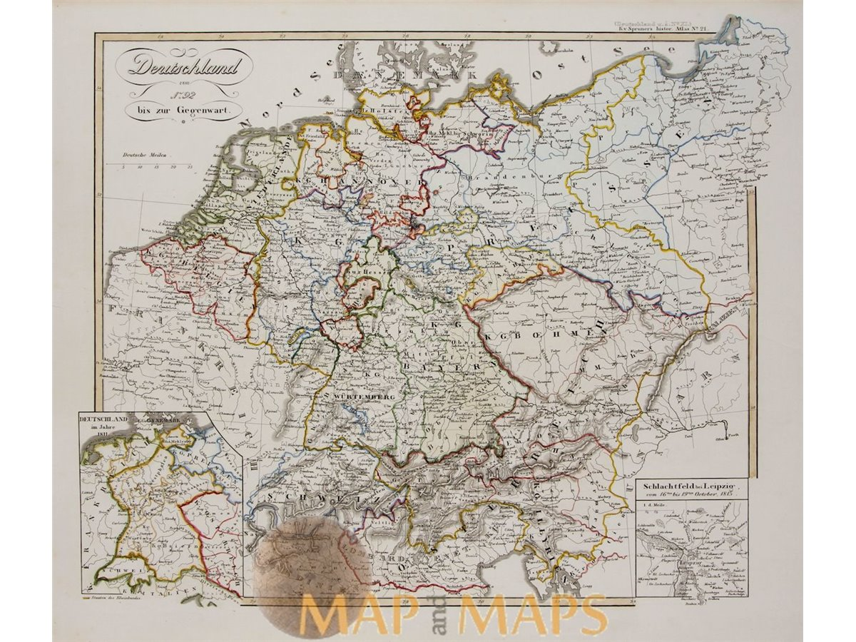 Map Of Germany Divided.Germany Divided Into States Old Map Karl Spruner 1846 Mapandmaps