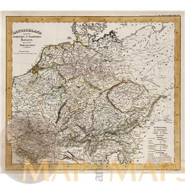 Antique map Germany Religious to the XVI th century, by Karl Spruner 1846