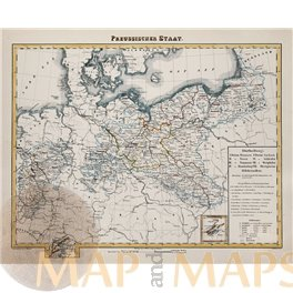 ANTIQUE ATLAS MAP PRUSSIAN STATE GERMANY POLAND PREUSSISCHEN STAAT FLEMING 1853