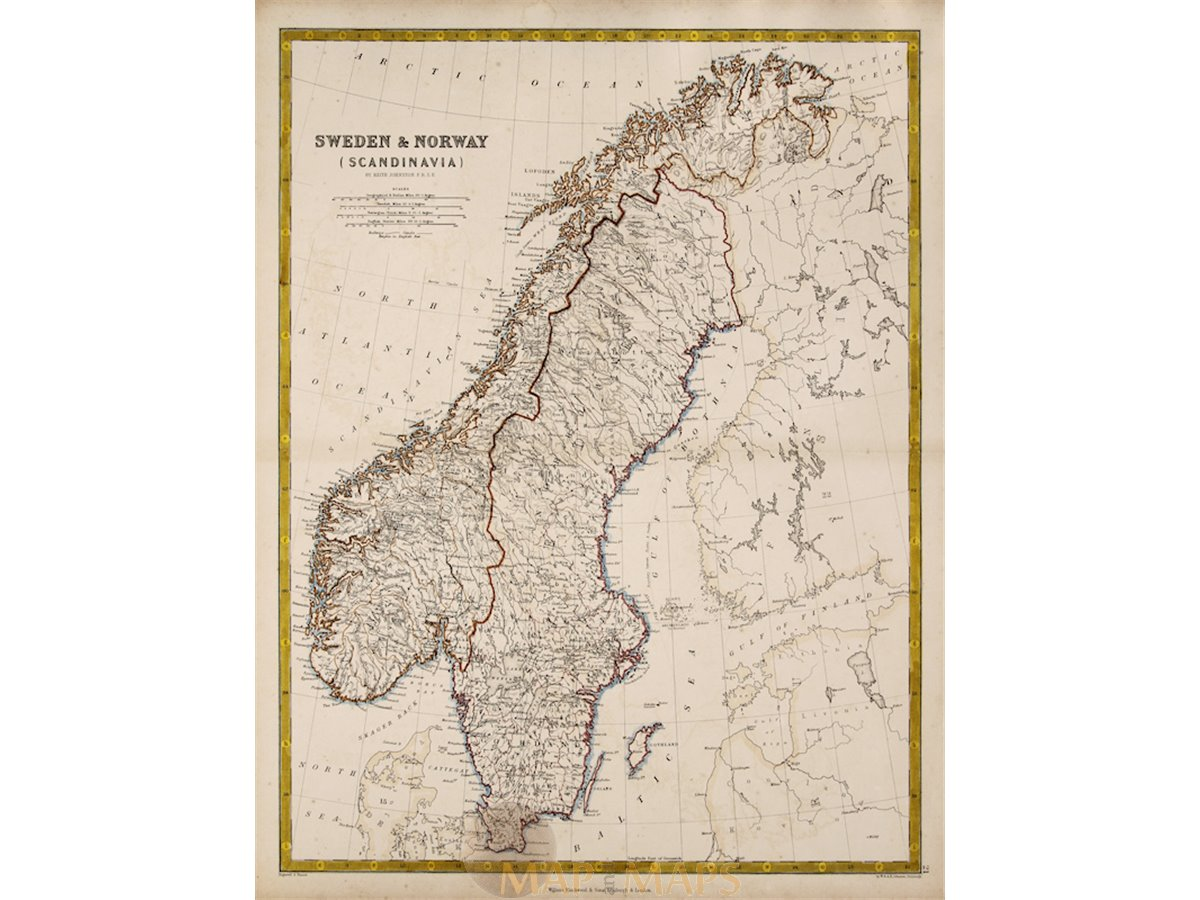 Sweden Norway Scandinavia antique map Keith Jonston 1860 on 1860 map of liberia, 1860 map of mexico, 1860 map of upper silesia, 1860 map of czechoslovakia,