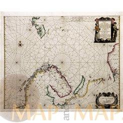 Pascaart Vande Zee Custen van Finmarcken antique chart Janssonius 1650