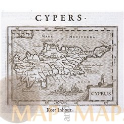 Cyprus rare antique map de Hondius/de Clerck 1621