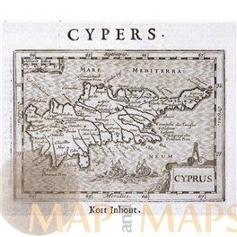 Cyprus rare antique map de Hondius/de Clerck 1621