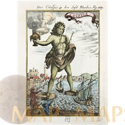 The Colossus of Rhodes antique old print Colossus by Mallet 1683