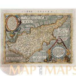 Cyprus map. Cypre Insula. Geographiae Universaetum Magini 1597