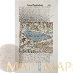 Switzerland Lake Geneva, Old woodcut Lacus Lemanus Seb. Munster 1614