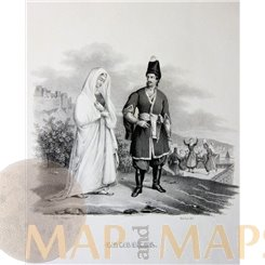 Antique Print Georgian people, Caucasus, Lithograph by Honegger ca. 1850