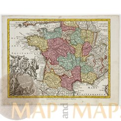 Gallia France Old map Gallia Concinata Ad Magnum Seutter/Lotter 1762