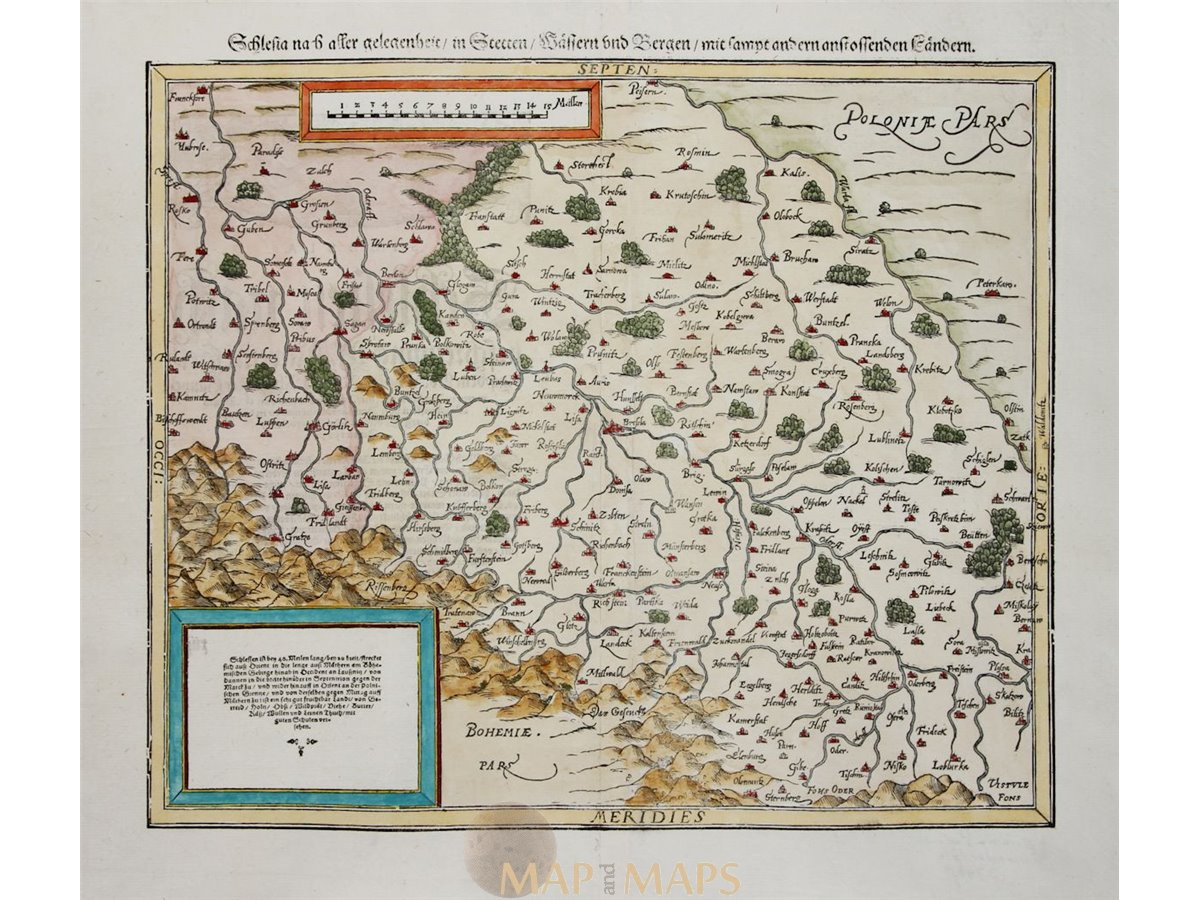 Poland Silesia Old Woodcut Map Schlesia By Seb Munster 1614 Ebay