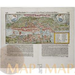 Zurich Antique Woodcut Der Statt Zurich in Helvetia Seb. Munster 1614