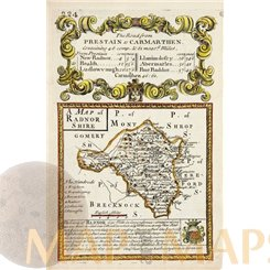 RADNORSHIRE WELSH ANTIQUE ROAD MAP COLORED BY BOWEN/OWEN 1761
