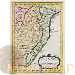 BRAZIL PARAQUI ORIGINAL OLD MAP BELLIN1753