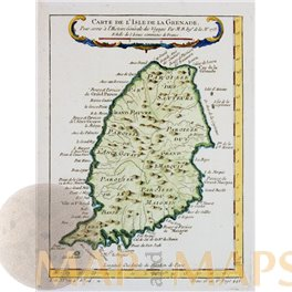 ANTIQUE MAP GRENADA ISLAND OLD ENGRAVING CARTE DE L'ISLE DE LA GRANADE BELLIN 1760