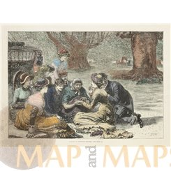 Buckinghamshire Picnic at Burnham Beeches antique print 1879