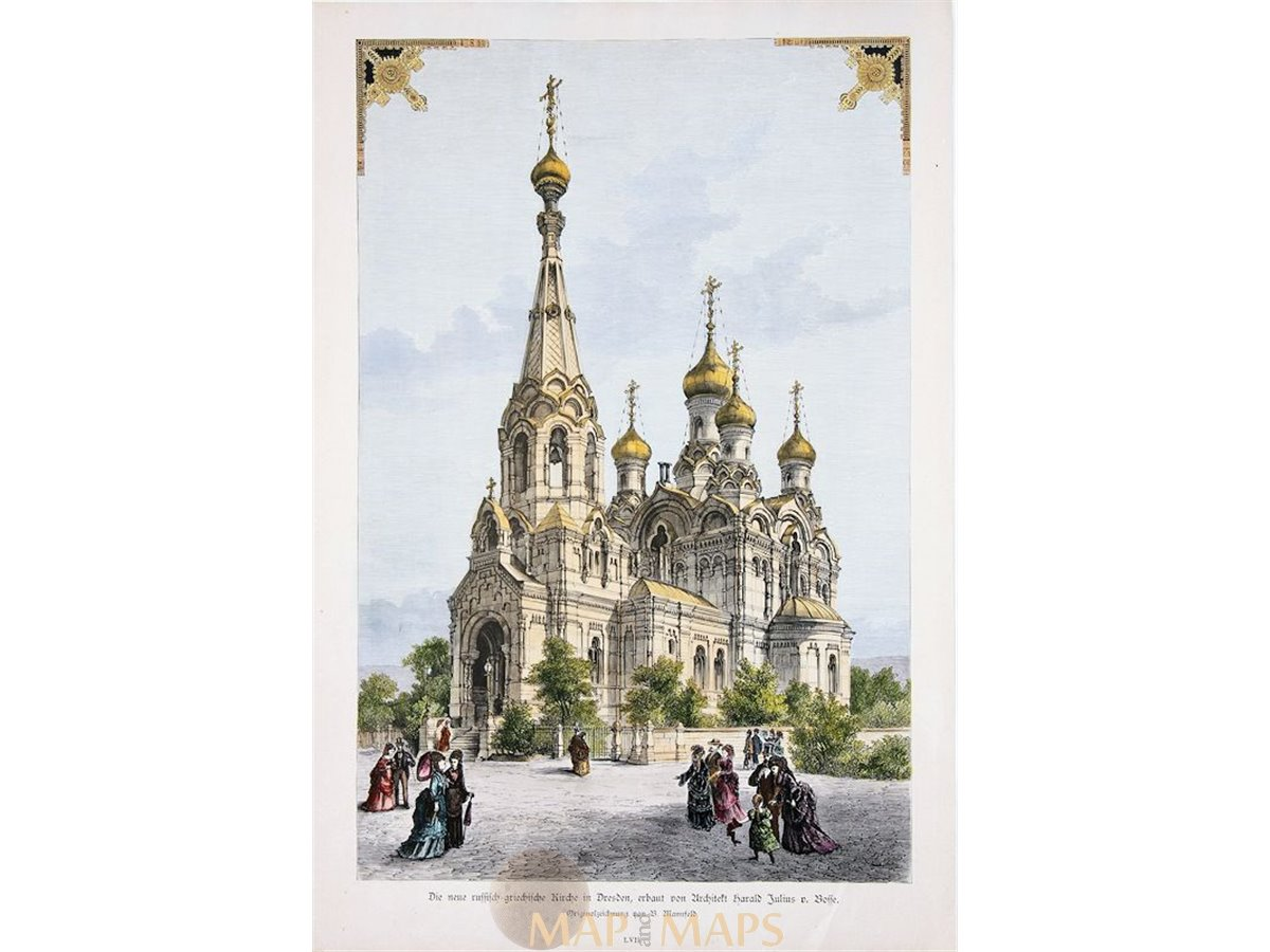 die neue russische kirche in dresden julius von bosse antique print 1880. Black Bedroom Furniture Sets. Home Design Ideas