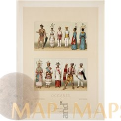 Fine 19th c. Costume Ocean people print Litho c 1860