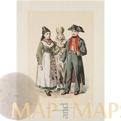 Bridal couple from Neustadt Antique Print 1890
