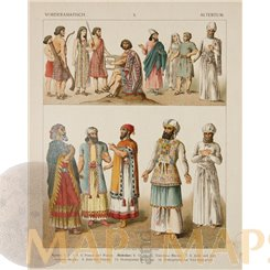 Middle East, Antiquity Costumes, Syrians, Hebrews, old antique print, 1880