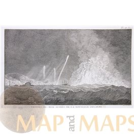 STORMY SEAS OFF THE NEW ZEALAND COAST, COOK'S VOYAGE, OLD ENGRAVING COOK 1780