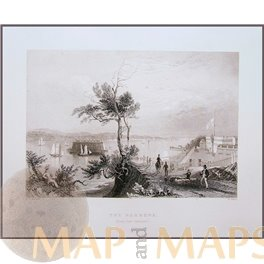 FORT HAMILTON, THE NARROWS, NEW YORK HARBORS, ANTIQUE PRINTS BY BARTLETT 1840