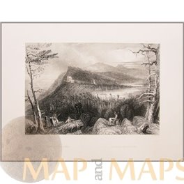 The two Lakes on the Catskills Antique Prints by Bartlett 1840