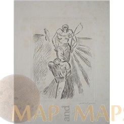Pad zu von Hinzel u. Dem wilden lenchen etching Pellegrini 1917