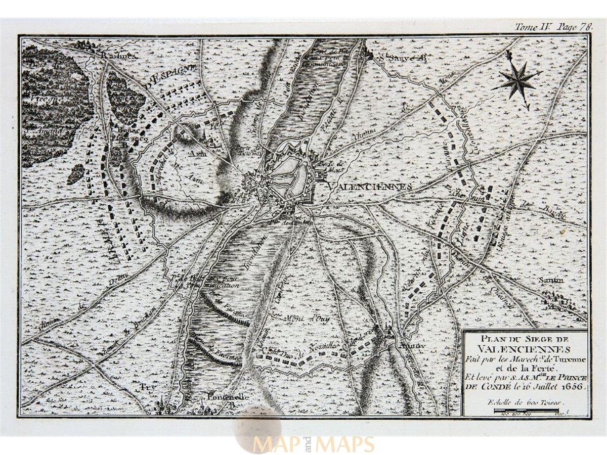 France Plan Du Siege De Valenciennes Old Battle Map 1656 Mapandmaps