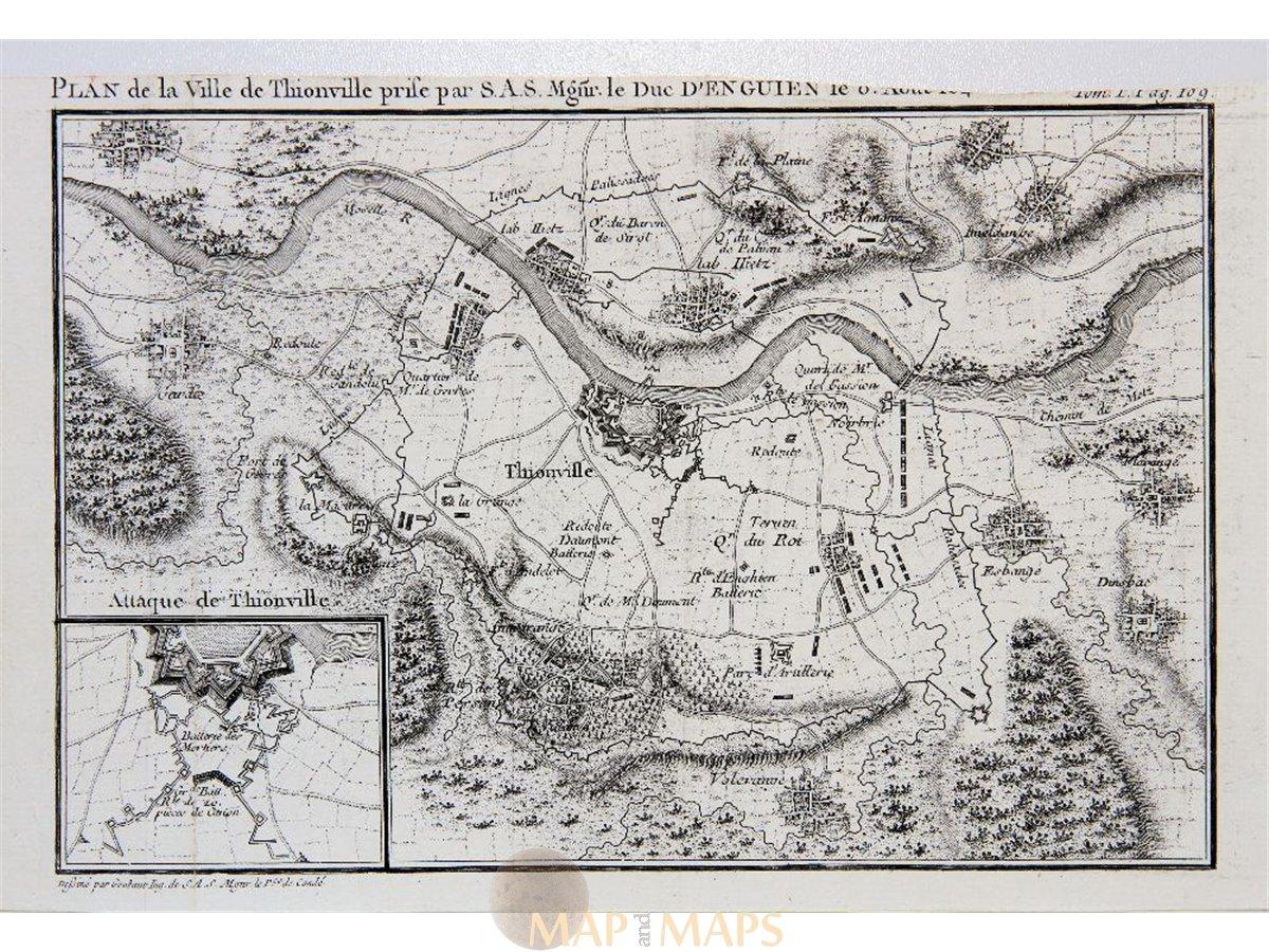 France Plan De La Ville De Thionville Antique map Bourbon | Mapandmaps