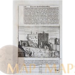 Russia, Kitay-gorod castle antique etching Adam Olearius 1656