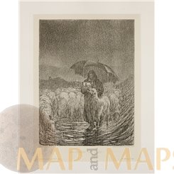 Shepherdess in heavy rain-Antique print- Ein Zuwachs-R Paulussen Wien 1897