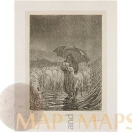 Shepherdess in heavy rain Antique Etching Print Paulussen 1897