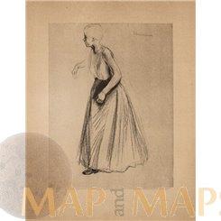 Standing Girl, Antique Art Print Max Liebermann 1901