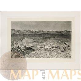Alpine Pastures Antique print Paulussen 1897