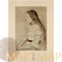 Daughter of Mayor Meyer Antique Print 1900